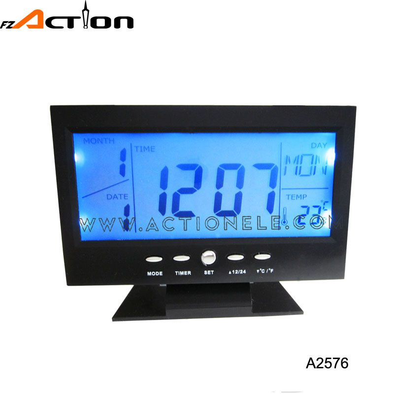 Digital sound controlled world time clock with 8 kinds of music