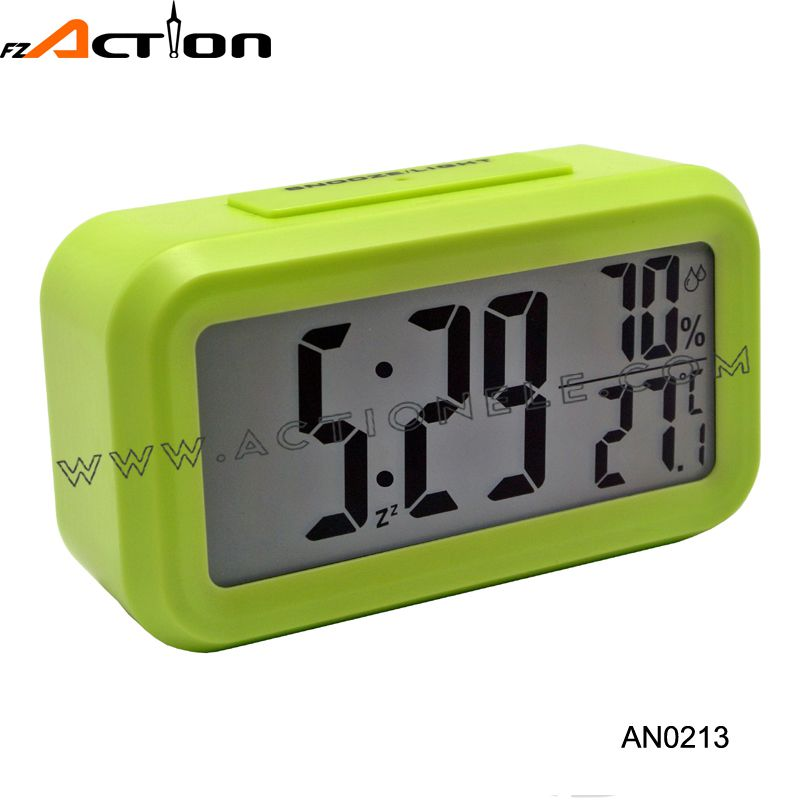 Night Light Sensor Digital Table Alarm Clock with Temperature and Relative Humidity