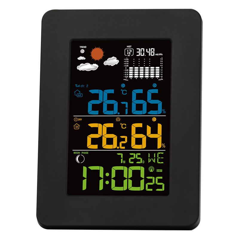 Digital Weather Station with Outdoor Sensor, Weather station with Moonphase (DCF) Colour LCD, Alarm